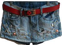 Джинсовые шорты-юбка ,ремень в комплекте