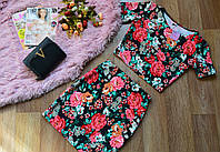 Костюм кофта+юбка яркие принты
