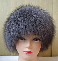 """Женская зимняя шапка """"Резка черно-бурка""""  два бубона"""