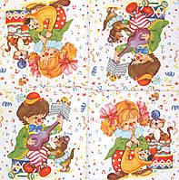 Красивые салфетки для декупажа Дети циркачи 552