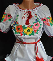 """Блуза женская с вышивкой """"Летняя мальва"""", р 42-52"""