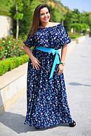 """Модное женское платье  в пол """"Китайский огурец"""" Батал"""