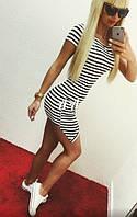 Летнее стильное платье в полоску