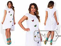 """Платье женское летнее с вышивкой """"Бабочки"""" в расцветках  большие размеры"""