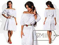 Платье  женское летнее батист с вышивкой в расцветках норма