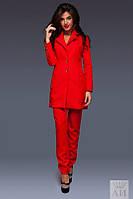 Костюм женский Стильный с брюками удлинённый пиджак трансформер цвет красный