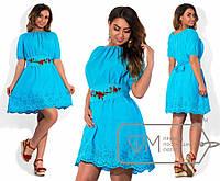 Платье  женское летнее батист с вышивкой в расцветках большие размеры