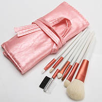 Маленький набор натуральных кистей для макияжа 7 pink