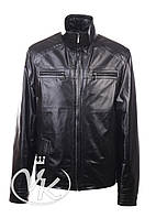 Черная кожаная куртка мужская на молнии