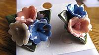 Серьги-гвоздики из полимерной глины с эмалью от Студии  www.LadyStyle.Biz
