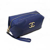"""Косметичка женская для сумки синяя """"Chanel"""" из искусственной зернистой кожи"""