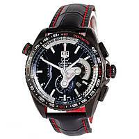 Мужские механические часы TAG Heuer - Carrera Caliber 36 цвет корпуса черный, кожаный ремешок