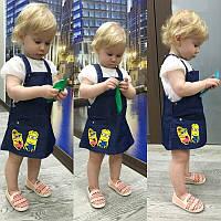 Детский милый джинсовый сарафанчик с нашивкой на лето (3 цвета)
