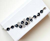 Браслет женский Dior Round синий, магазин бижутерии