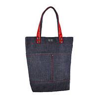 Джинсовая стильная сумка с ручками красного цвета