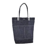 Джинсовая стильная сумка с белыми ручками