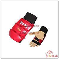 Перчатки (накладки) для карате MATSA MA-1804 кожа, красные