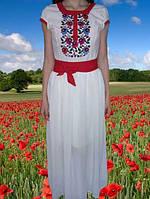 Вышитое платье в пол с коротким рукавом,42-48