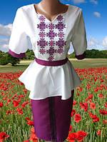 Женское вышитое платье с баской,42-50