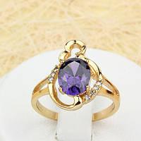 002-1110 - Позолоченное кольцо с фиолетовым фианитом, 17 р.