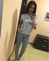 Женский костюм штаны трикотаж футболка гипюр Размер универсал с-м