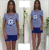Женский костюм футболка полоска + однотонные шорты Размер универсал С-М
