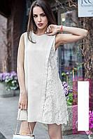 Летнее льняное платье с кружевом Хит