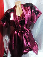 Женский атласный комплект халат 42-48 рр