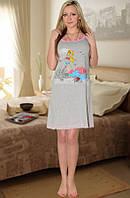 Ночная сорочка на тонких бретельках (Серый с розовым)