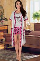 Комплект: пижама (майка и шорты) и халат (Серый с малиновым)