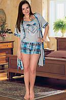 Комплект: пижама (майка и шорты) и халат (Серый с голубым)