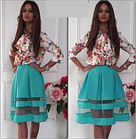Нарядный костюм женский рубашка шелк + юбка габардин и фатин  Размер универсал 42-44