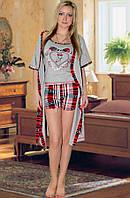 Комплект: пижама (майка и шорты) и халат (Серый с красным)