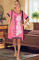 Комплект: ночная сорочка и халат (Персиковый)