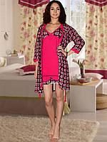 Комплект: ночная сорочка и халат  (Красный)
