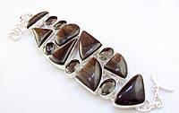 Стильный Браслет из натуральных камней - ЗОЛОТИСТЫЙ ОБСИДИАН, ДЫМЧАТЫЙ КВАРЦ (РАУХТОПАЗ)