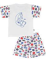 Детская пижама (футболка и шорты)  (Белый)