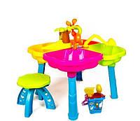 Детский игровой столик для игр с песком, стул, ведерко, пасочки