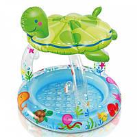 """Детский надувной бассейн Intex """"Морская черепаха»  с навесом"""