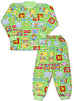 Утепленная детская пижама (кофта и брюки) (Зеленый, звери)