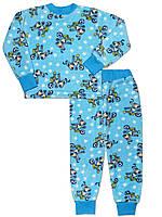 Теплая детская пижама (кофта и брюки) (Голубой, собака)