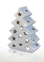 Декор-подсвечник новогодний керамический глянцевый белый Елка.