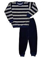 Велюровая детская пижама (кофта и брюки) ( Синий)