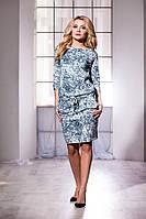 Модное платье с орнаментом и карманами на затяжном поясе. Арт-5726/57