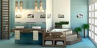 Плитка облицовочная для ванной комнат Olivia (Оливия синяя и белая)