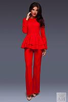 Женский брючный деловой костюм с баской в расцветках А138
