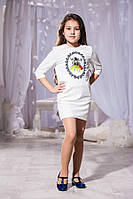 Детское белое платье с принтом и кармашиками. Арт-5740/57