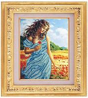 Схема для частичной вышивки бисером «Красавица с цветком» ВШ,248х305,Габардин,Арт.ЧБ-35 /00-02