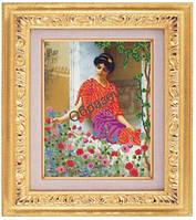 Схема для частичной вышивки бисером «Девушка у цветов» ВШ,248х305,Габардин,Арт.ЧБ-62 /00-02