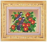 Схема для частичной вышивки бисером «Птицы в цветах» ВШ,248х305,Габардин,Арт.ЧБ-67 /00-02